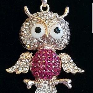 Betsey Johnson Pink Owl Pendant Necklace Nice!!